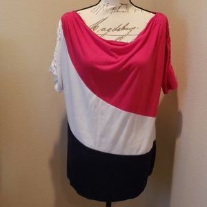 Faded Glory cute cowl neck tricolor top